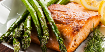 herb butter salmon and asparagus recipe