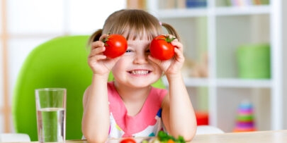 Kids eating healthy and getting all their vitamins