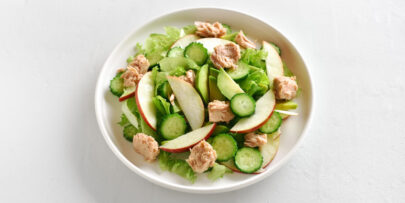 Cucumber, apple, and char-grilled chicken salad