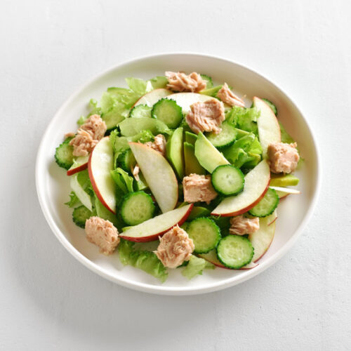 Cucumber apple and chargrilled chicken salad